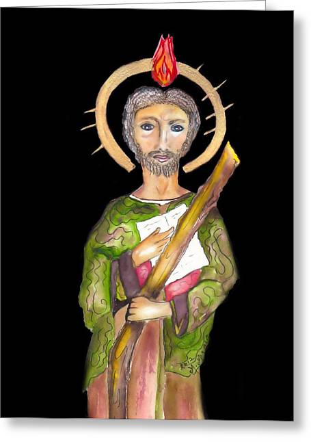 Catholic Saints Paintings Greeting Cards - Saint Jude Greeting Card by Myrna Migala