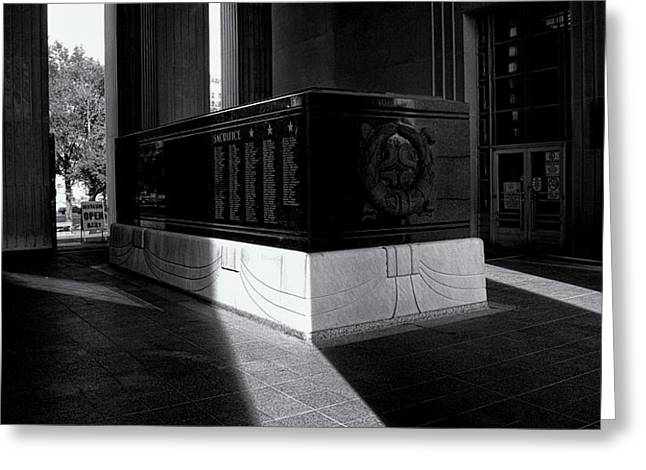 Saint Louis Soldiers Memorial Black and White Greeting Card by Joshua House