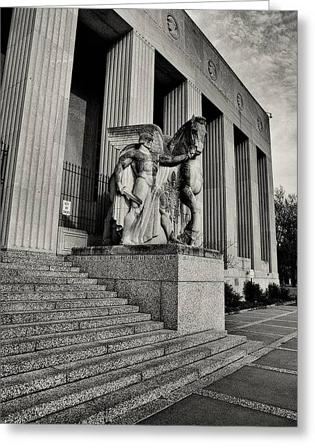 Doughboy Photographs Greeting Cards - Saint Louis Soldiers Memorial Exterior Black and White Greeting Card by Joshua House
