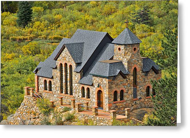 Chapel On The Rock Photographs Greeting Cards - Saint Malo Fall Foliage Greeting Card by Stephen  Johnson