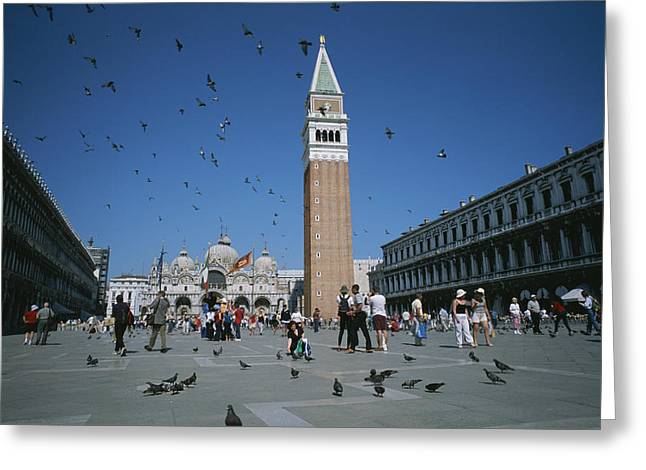 Basillica Greeting Cards - Saint Marks Square And The Famous Greeting Card by Taylor S. Kennedy
