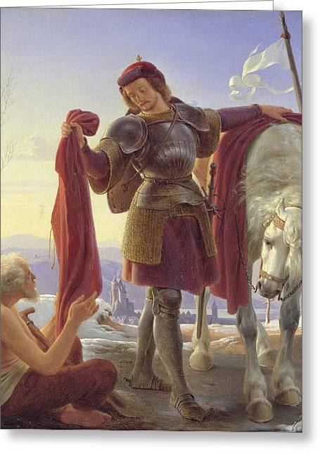 Knights Castle Paintings Greeting Cards - Saint Martin and the Beggar Greeting Card by Alfred Sethel