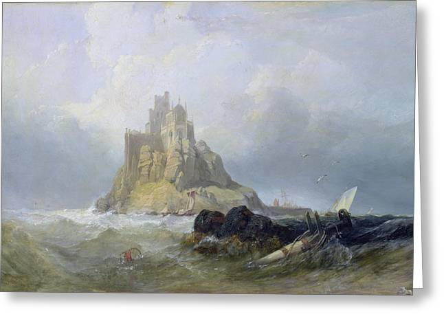 Gothic Greeting Cards - Saint Michaels Mount in Cornwall  Greeting Card by William Clarkson Stanfield