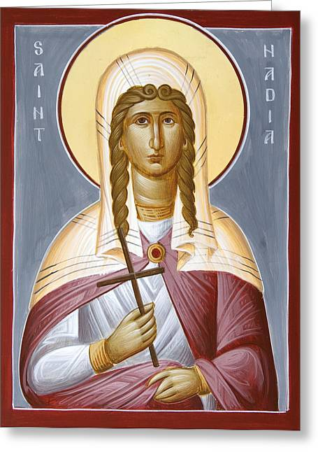 Saint Hope Greeting Cards - Saint Nadia - Hope Greeting Card by Julia Bridget Hayes