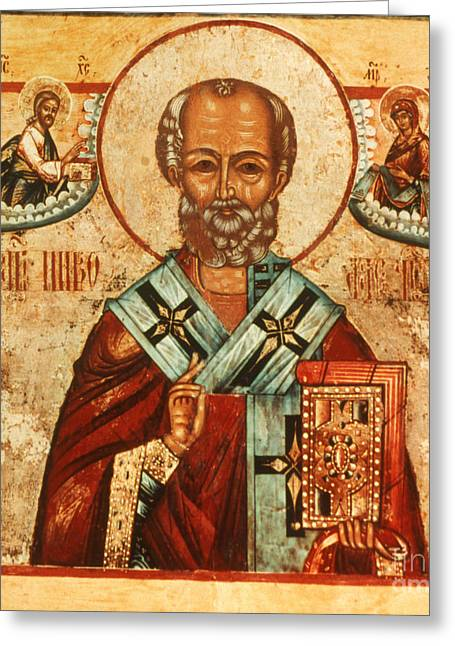 Icon Byzantine Photographs Greeting Cards - Saint Nicholas Greeting Card by Granger