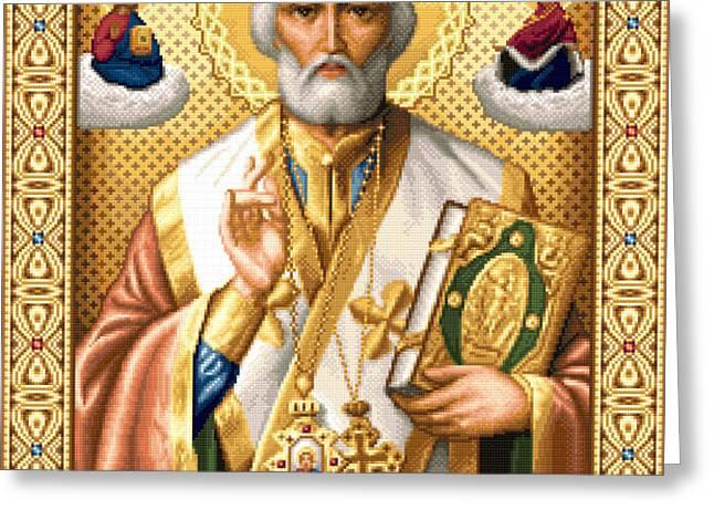 Saint Nicholas Greeting Card by Stoyanka Ivanova