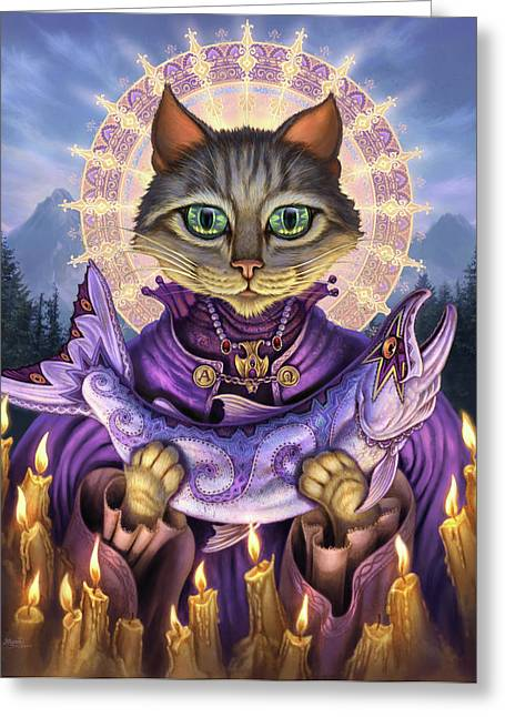 Tabby Greeting Cards - Saint of Salmons Greeting Card by Jeff Haynie