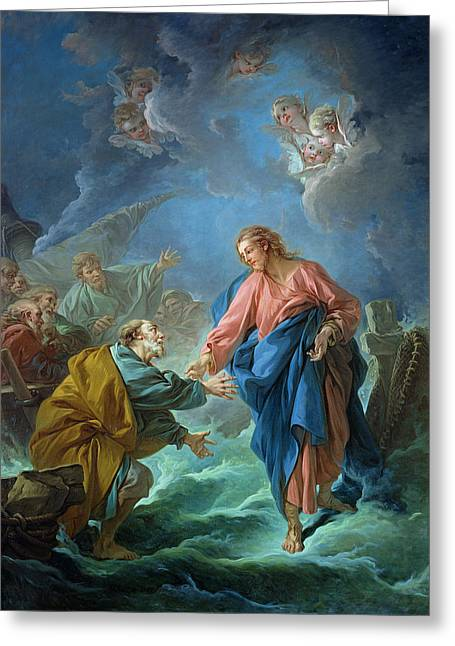 Religious Paintings Greeting Cards - Saint Peter Invited to Walk on the Water Greeting Card by Francois Boucher
