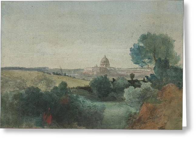 Dome Greeting Cards - Saint Peters seen from the Campagna Greeting Card by George Snr Inness