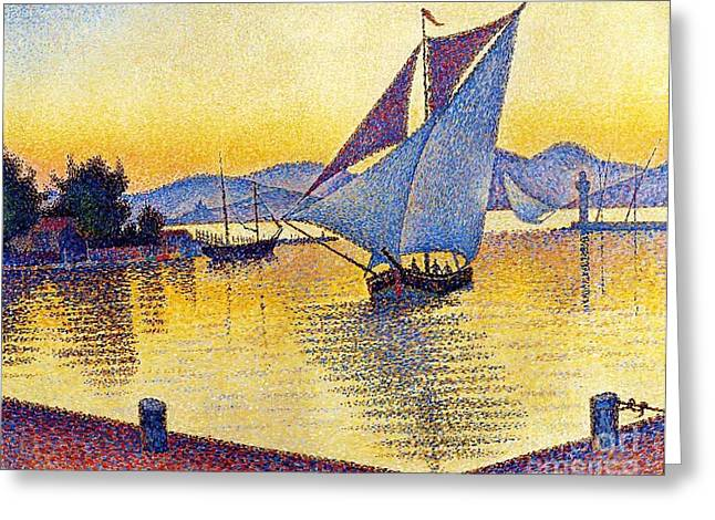 Saint Tropez At Sunset Greeting Card by Pg Reproductions