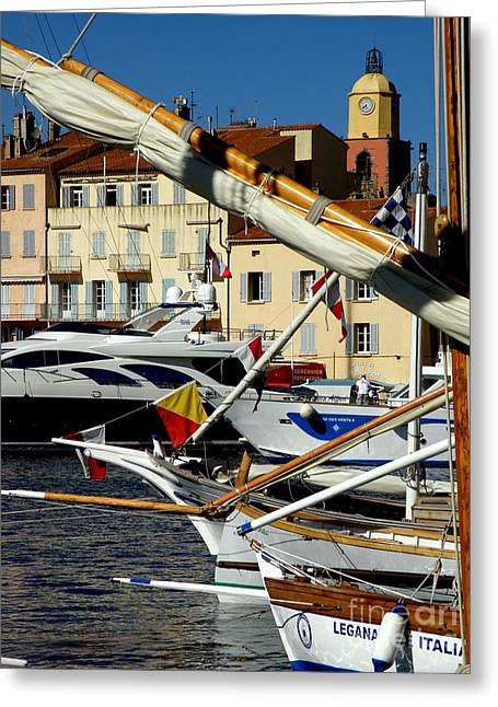 St.tropez Greeting Cards - Saint Tropez Harbor Greeting Card by Lainie Wrightson