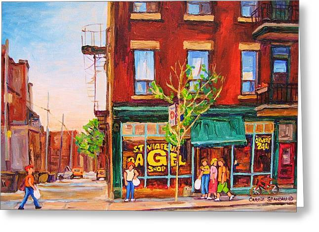 Prince Arthur Street Greeting Cards - Saint Viateur Bagel Greeting Card by Carole Spandau