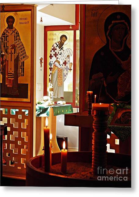 Saints And Candles Greeting Card by Sarah Loft
