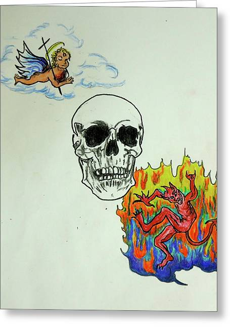 Tattoo Flash Drawings Greeting Cards - Saints and Sinners Greeting Card by Pete Maier