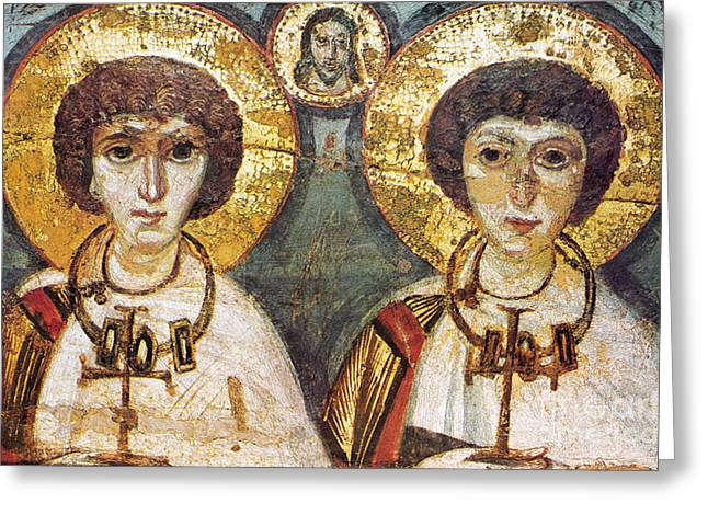 Icon Byzantine Photographs Greeting Cards - Saints Sergius And Bacchus Greeting Card by Granger