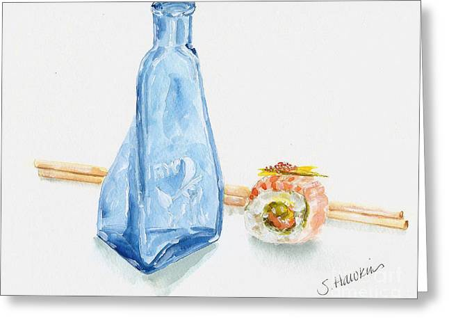Sake Bottle Paintings Greeting Cards - Sake and Sushi Greeting Card by Sheryl Heatherly Hawkins