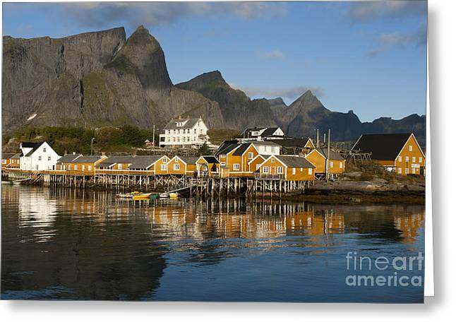 Norway Village Greeting Cards - Sakrisoy Fishermens Village Greeting Card by Heiko Koehrer-Wagner