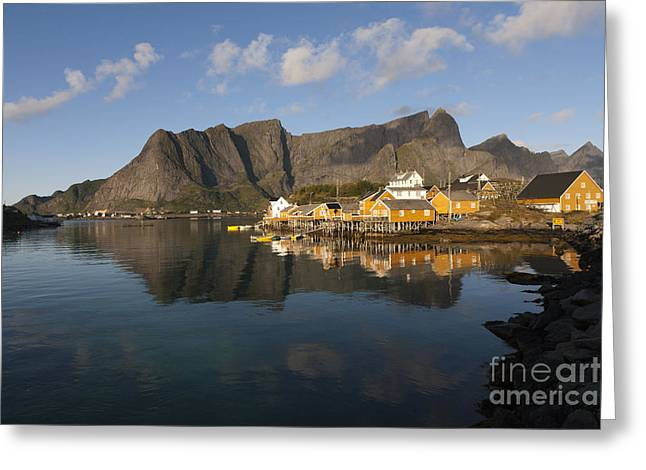 Norway Village Greeting Cards - Sakrisoy Fishermens Village II Greeting Card by Heiko Koehrer-Wagner