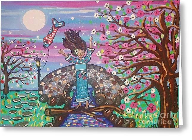 Kites Mixed Media Greeting Cards - Sakura Dreams Greeting Card by Stephanie Temple