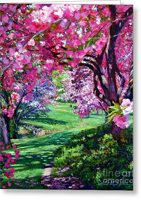 Flowering Tree Greeting Cards - Sakura Romance Greeting Card by David Lloyd Glover