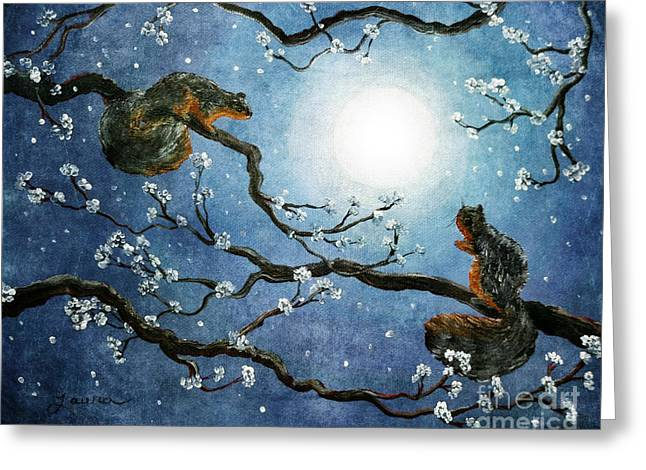 Cherry Blossoms Paintings Greeting Cards - Sakura Squirrels Greeting Card by Laura Iverson