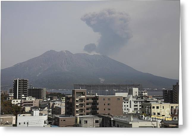Japan Village Greeting Cards - Sakurajima Volcano As Viewed Greeting Card by Richard Roscoe