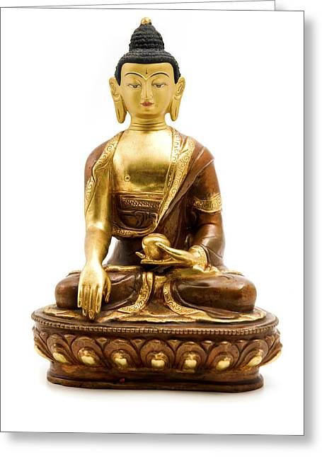 White Background Greeting Cards - Sakyamuni Buddha Greeting Card by Fabrizio Troiani