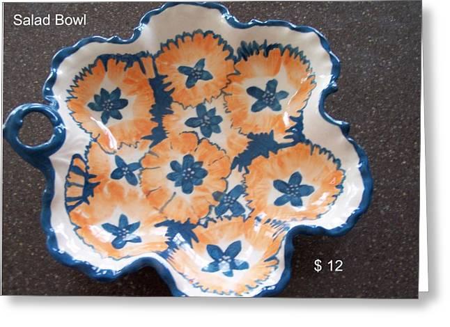 Bowl Ceramics Greeting Cards - Salad bowl Greeting Card by Vijay Sharon Govender