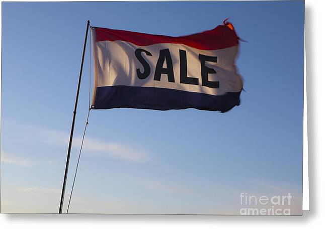 Sale Flag In The Wind Greeting Card by Paul Edmondson