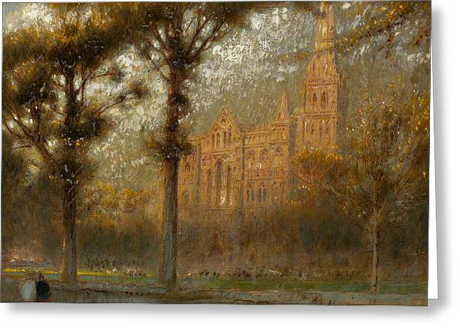 Steeples Greeting Cards - Salisbury Cathedral Greeting Card by Albert Goodwin