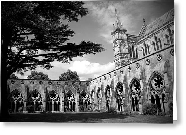 Dslr Greeting Cards - Salisbury Cathedral BW Greeting Card by Kamil Swiatek