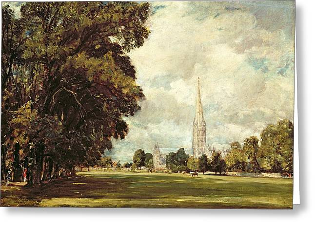 Constable Paintings Greeting Cards - Salisbury Cathedral from Lower Marsh Close Greeting Card by John Constable