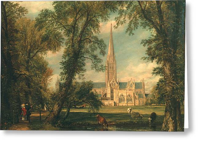 Salisbury Cathedral From The Bishop's Grounds Greeting Card by John Constable