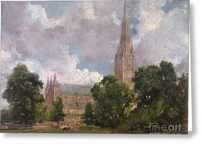 People Walking Greeting Cards - Salisbury Cathedral from the south west Greeting Card by John Constable