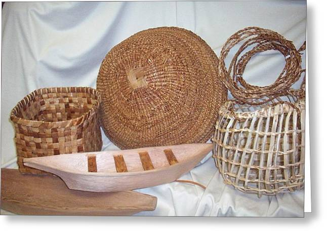 Cedar Sculptures Greeting Cards - Salish Weaving and Carving Greeting Card by Mary Lou Slaughter
