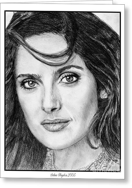 Movie Art Greeting Cards - Salma Hayek in 2005 Greeting Card by J McCombie