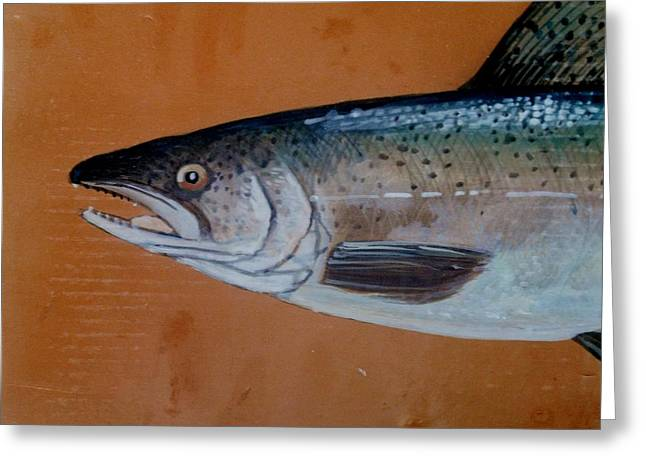Fishes Ceramics Greeting Cards - Salmon 1 Greeting Card by Andrew Drozdowicz