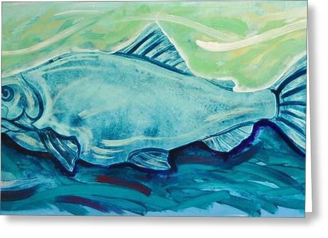 Salmon Mixed Media Greeting Cards - Salmon Bluegreen Greeting Card by Dodd Holsapple
