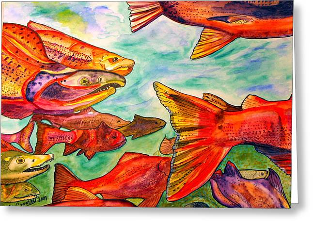 Salmon Mixed Media Greeting Cards - Salmon  Greeting Card by Chris Crowley