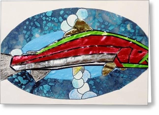 Salmon Mixed Media Greeting Cards - Salmon Fish Greeting Card by Eileen Szydlowski