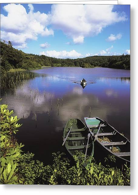 Salmon Fishing, Ballinahinch Greeting Card by The Irish Image Collection