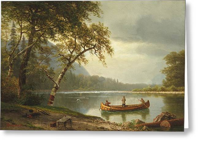 Pond Paintings Greeting Cards - Salmon fishing on the Caspapediac River Greeting Card by Albert Bierstadt