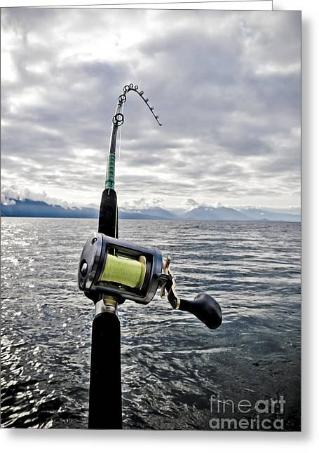 Fishing Greeting Cards - Salmon Fishing Rod Greeting Card by Darcy Michaelchuk