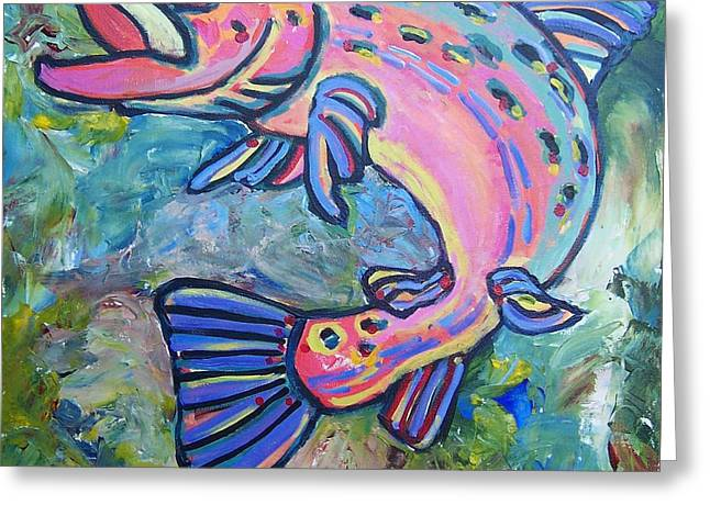 Salmon Paintings Greeting Cards - Salmon Greeting Card by Krista Ouellette