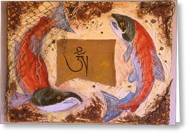 Salmon Paintings Greeting Cards - Salmon of the Bliss Body Greeting Card by Sandy Eastoak