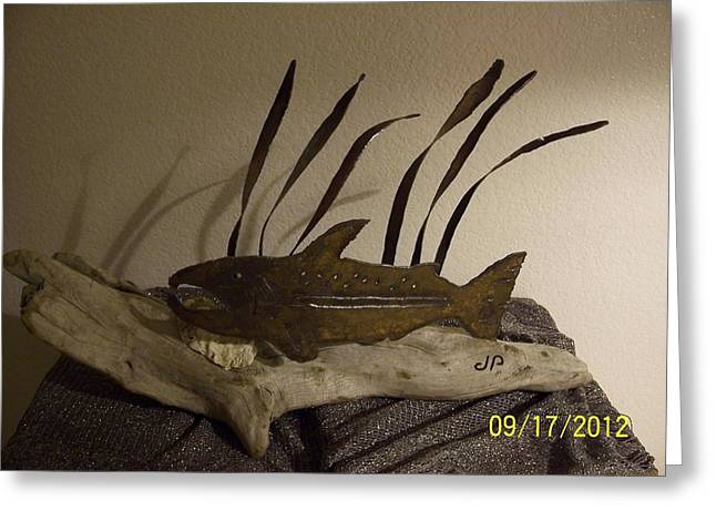 Garden Sculptures Greeting Cards - Salmon On Driftwood Greeting Card by JP Giarde