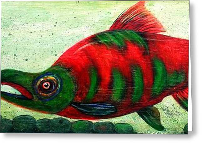 Salmon Paintings Greeting Cards - Salmon  On The Rocks Greeting Card by Pjay Mcconnell