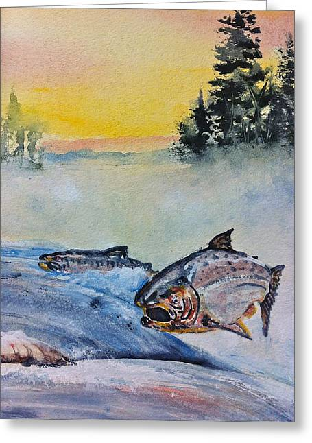 Salmon Paintings Greeting Cards - Salmon Run Greeting Card by Gloria Avner