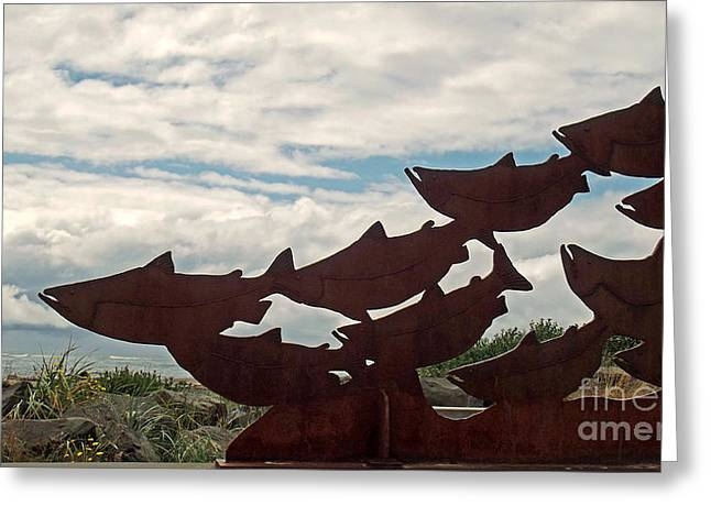 Ocean Photos Digital Greeting Cards - Salmon Sculpture Greeting Card by Methune Hively