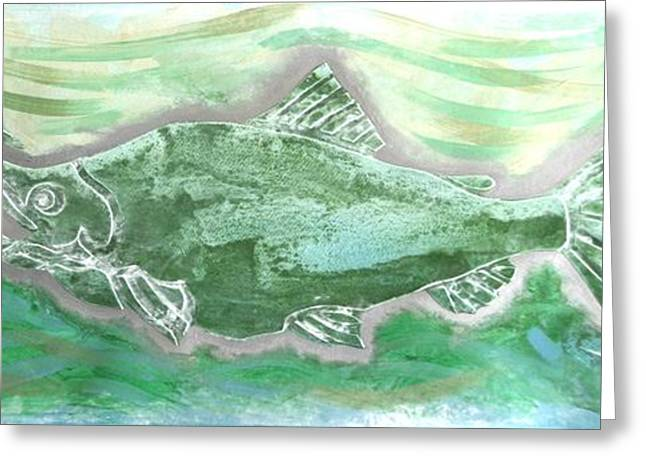 Salmon Mixed Media Greeting Cards - Salmon Silver Greeting Card by Dodd Holsapple